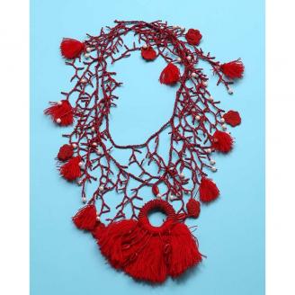 Ожерелье красное из бисера с бахромой 2019D2009-046 Antica Sartoria