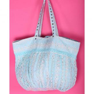 Пляжная сумка бирюзовая текстильная с кружевом 2019S196 Antica Sartoria
