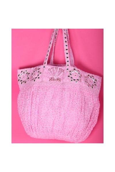 Пляжная сумка розовая текстильная с кружевом 2019S196 Antica Sartoria