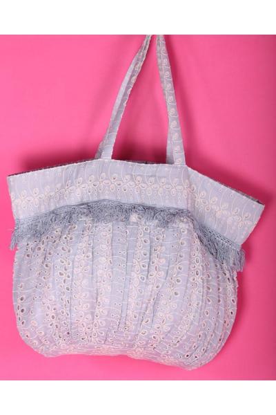Пляжная сумка текстильная из кружева цвет Джинс 2019S197 Antica Sartoria