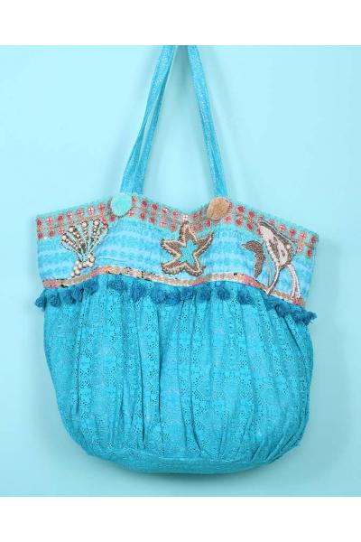 Пляжная сумка бирюзовая с морскими звездами 2019S199 Antica Sartoria
