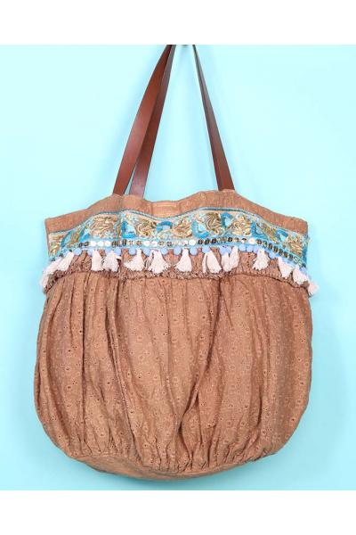 Пляжная сумка текстильная цвет Кэмел 2019S201 Antica Sartoria