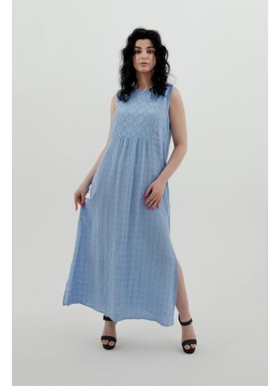 Длинное васильковое платье узором LFDL 00315