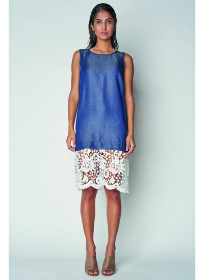 Синие платье с белой вышивкой LFDL 00333