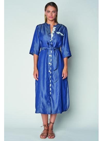Длинное синие платье с поясом LFDL 00334