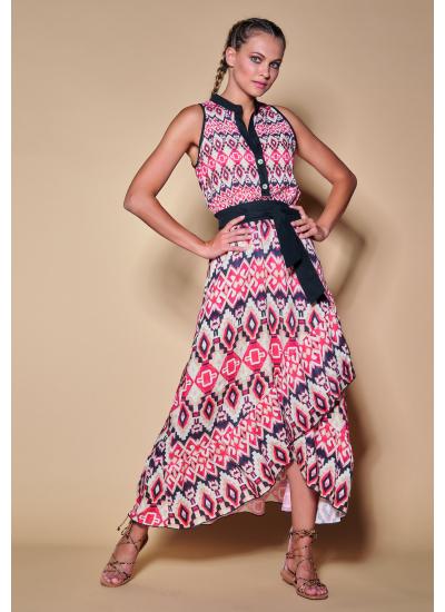 Цветное длинное платье с поясом LFDL 00371