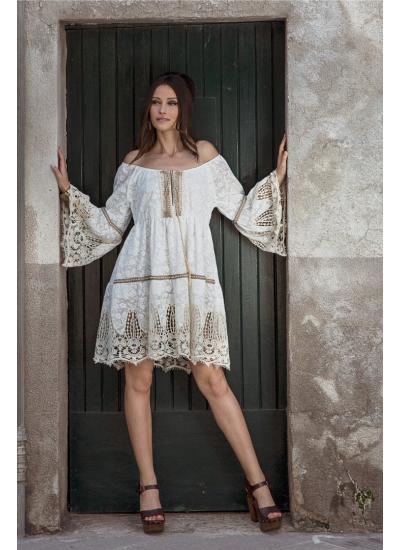 Кружевное платье с открытыми плечами PHO Firenze 4311017