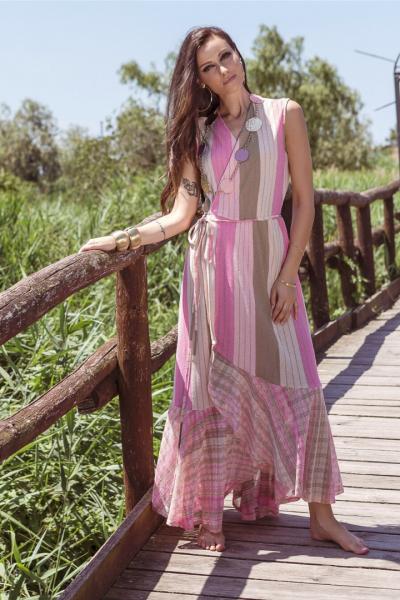 Вязанное длинное платье с запахом PHO Firenze 4311045