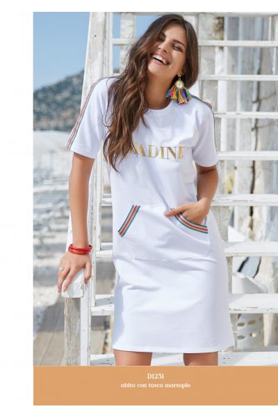 Белое трикотажное платье с карманами спереди AMADINE D1231
