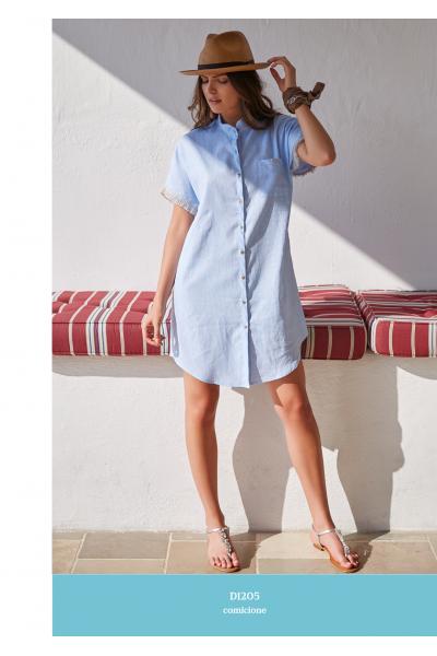 Удлиненная рубашка из смешанного льна AMADINE D1205