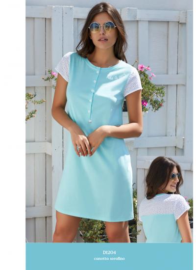 Трикотажное хлопковое платье с коротким рукавом из хлопка Сангалло AMADINE D1204