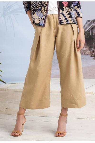 Льняные бежевые брюки 191474-026