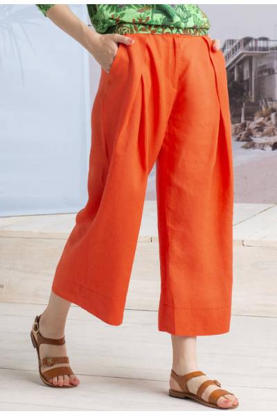 Льняные брюки цвет Коралловый 191474-047