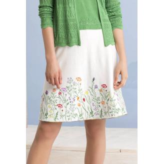 Белая юбка с цветочной вышивкой по подолу 191551-010